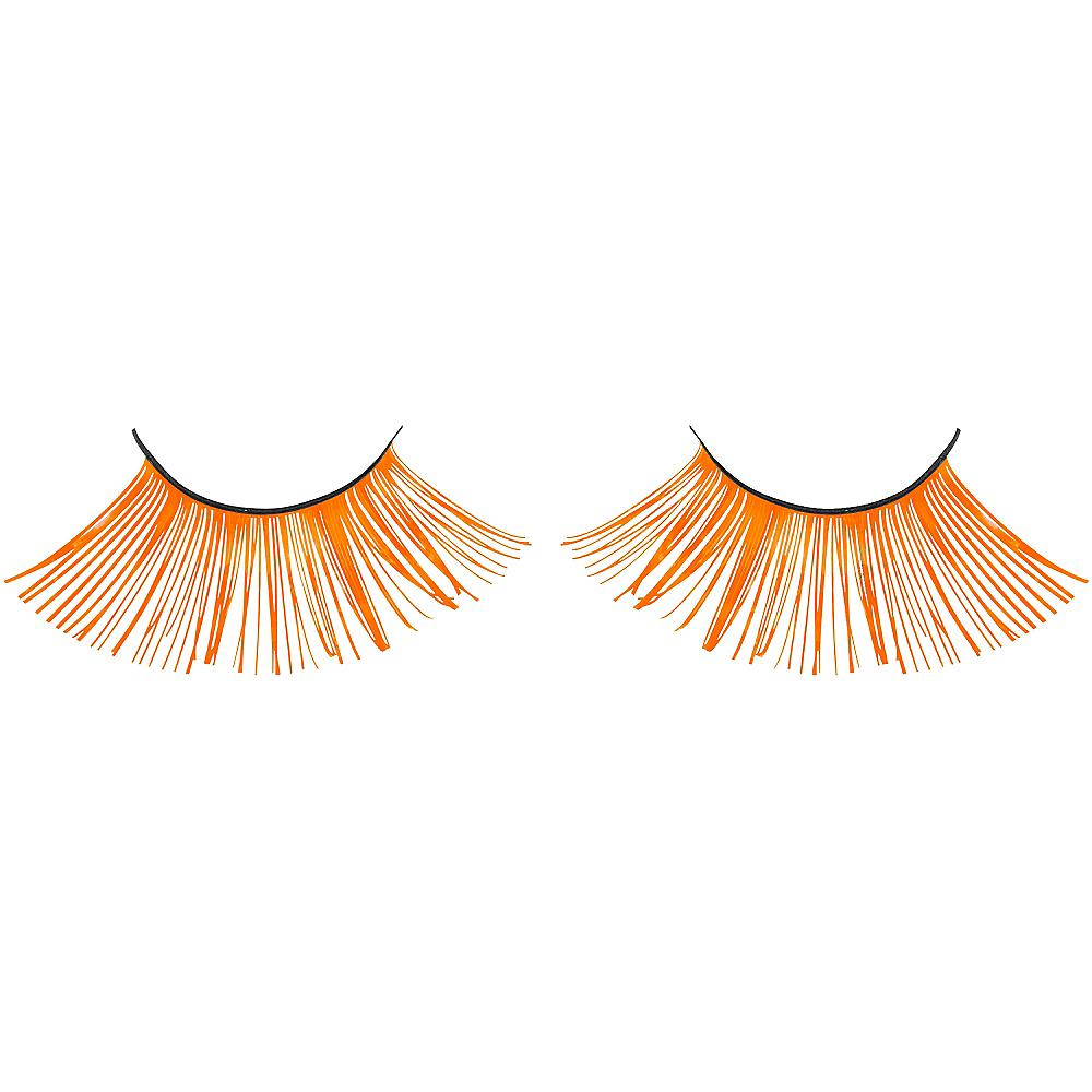 Self-Adhesive Black Light Neon Orange Tinsel False Eyelashes