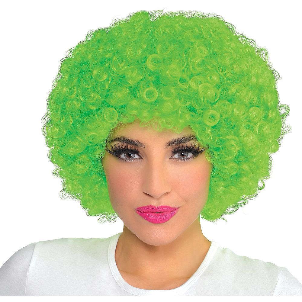 Black Light Neon Green Afro Wig Image #1
