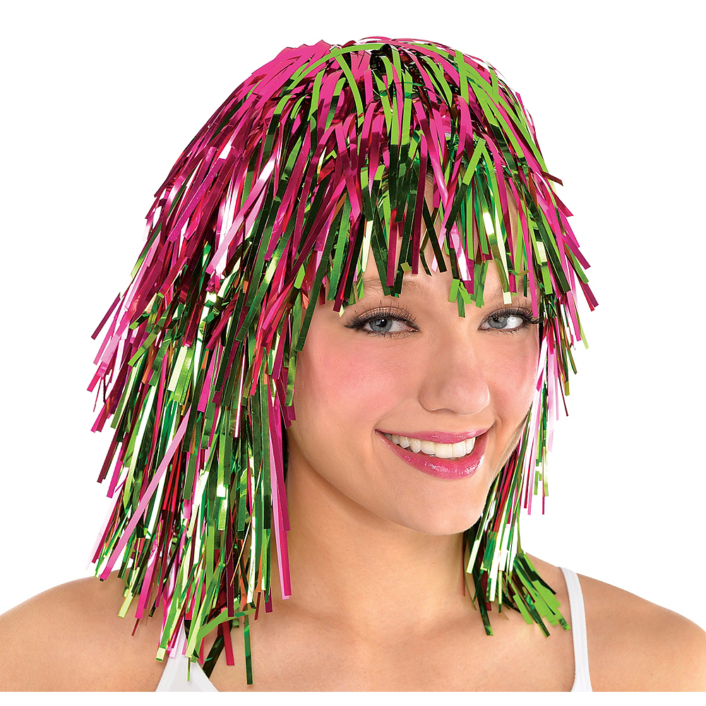 Neon Pink & Green Tinsel Wig Image #1