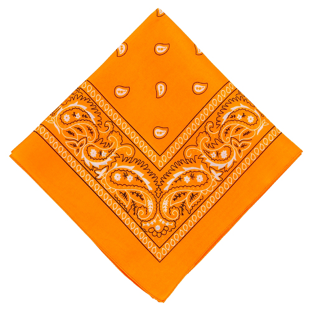 Neon Orange Paisley Bandana, 20in x 20in Image #1