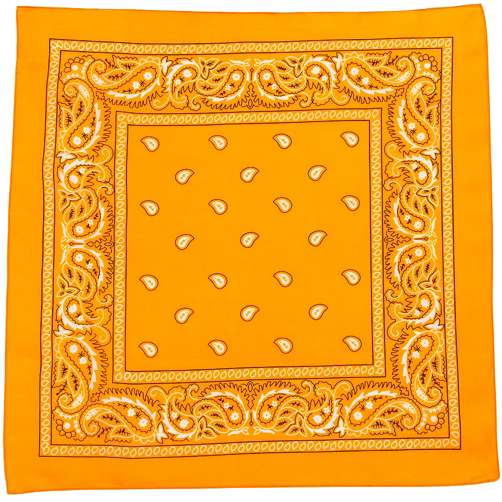 Neon Orange Paisley Bandana, 20in x 20in Image #2