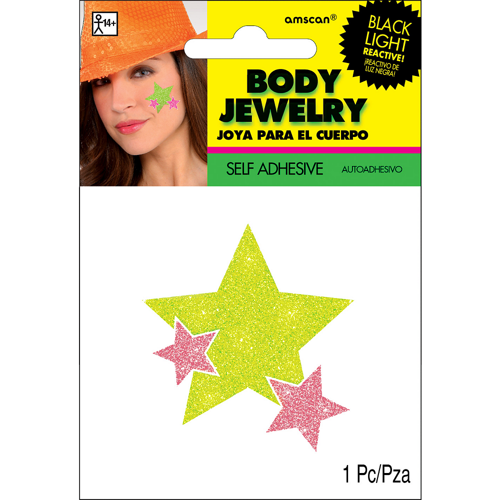 Black Light Neon Pink & Green Star Body Jewelry Image #2