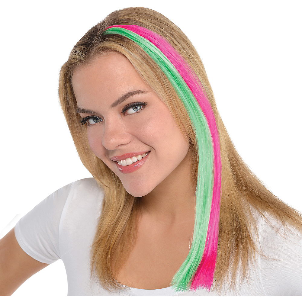 Black Light Neon Pink Green Hair Extension 15in Party City