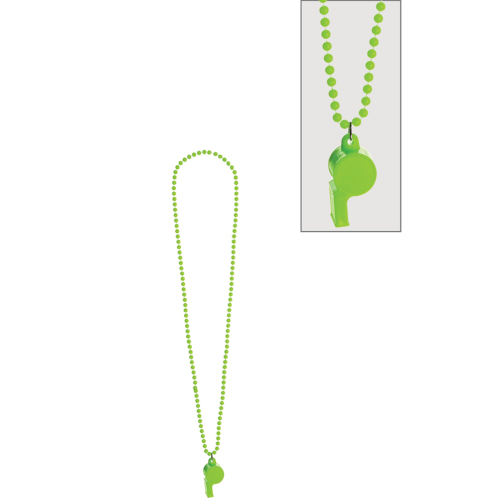 Black Light Neon Green Whistle Necklace Image #1