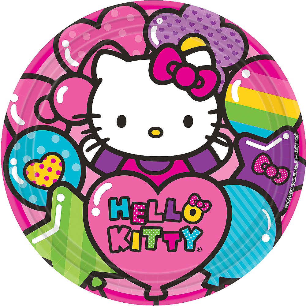 Rainbow Hello Kitty Lunch Plates 8ct Image #1