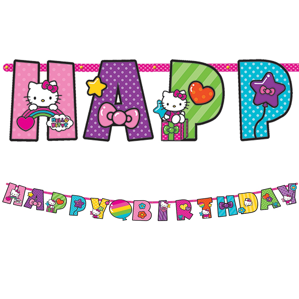 Rainbow Hello Kitty Birthday Banner 10ft   Party City 1646acef0d