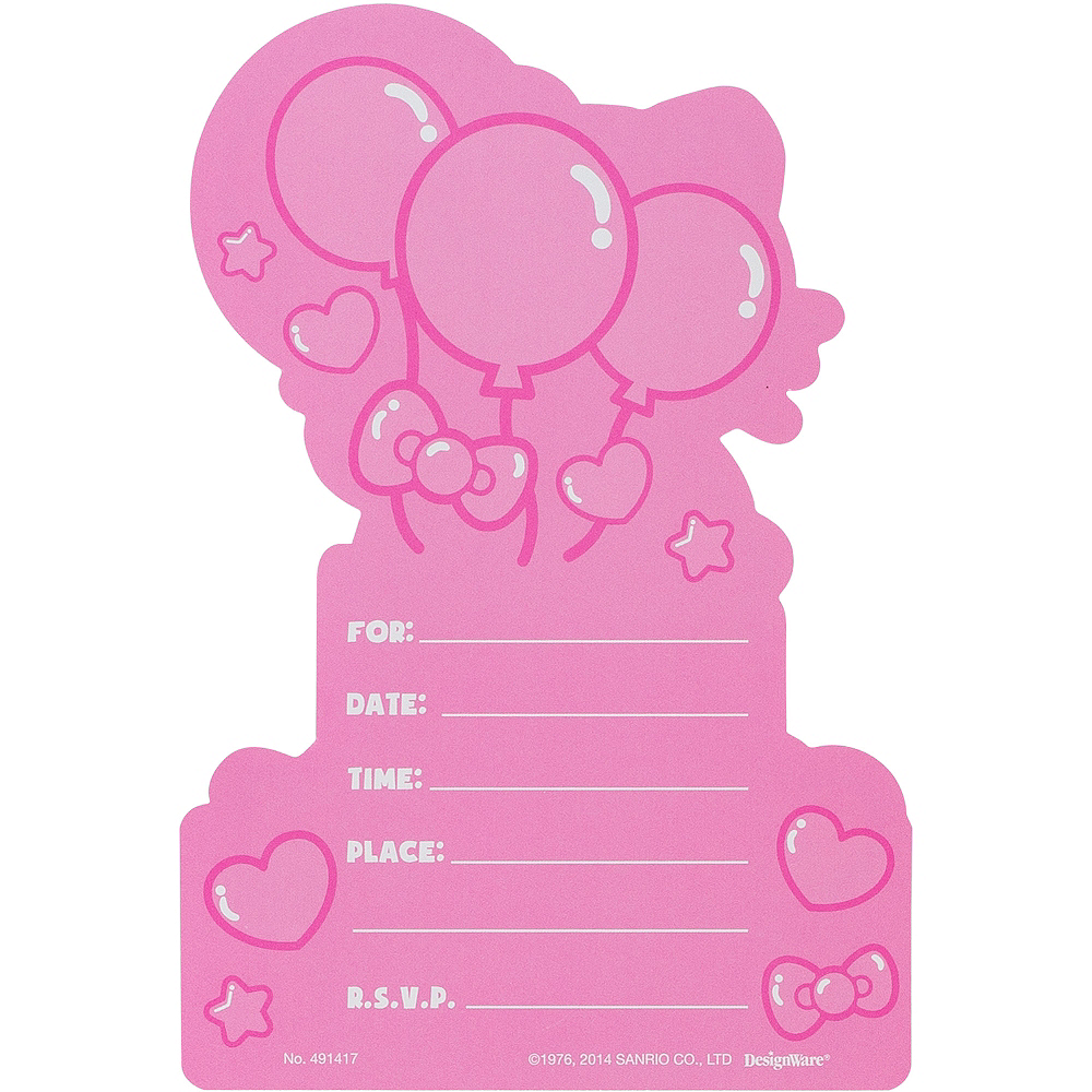 Rainbow Hello Kitty Invitations 8ct Image #2