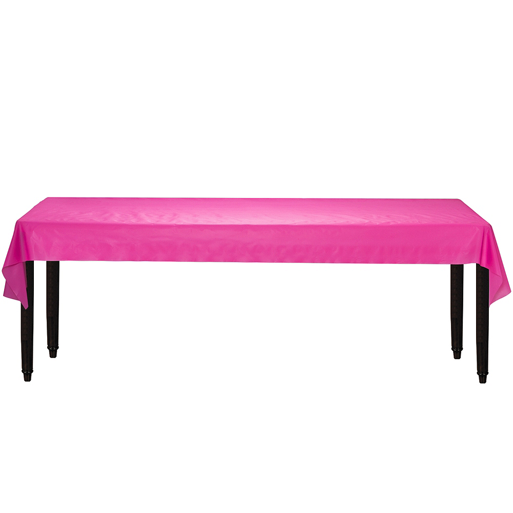 Extra-Long Bright Pink Plastic Table Cover Roll Image #2