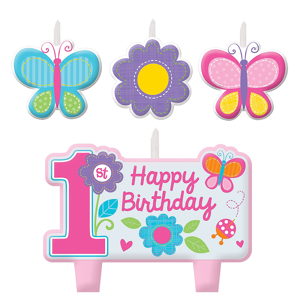 Flower Butterfly 1st Birthday Candles 4ct Party City