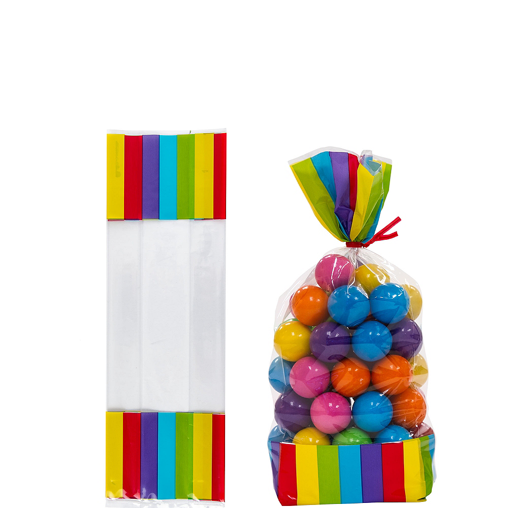 Rainbow Striped Treat Bags 10ct Image #1