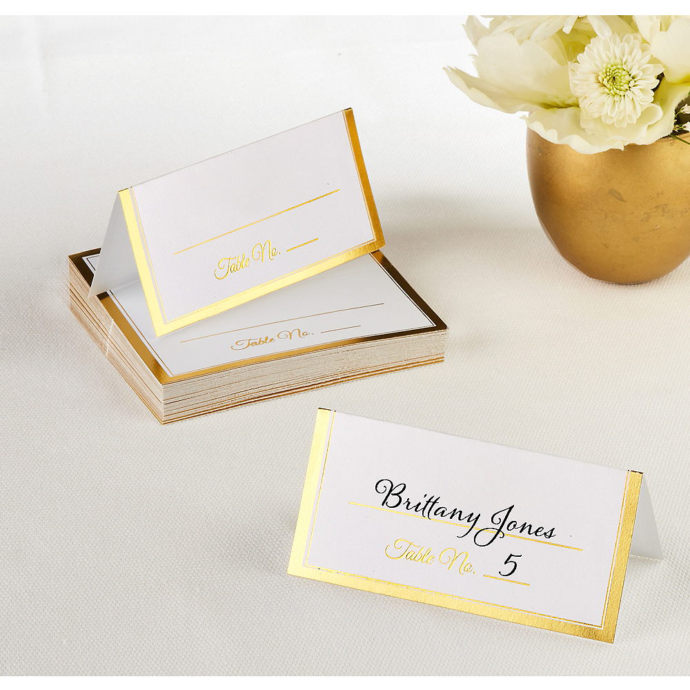 Gold Border Place Cards 50ct Image 1
