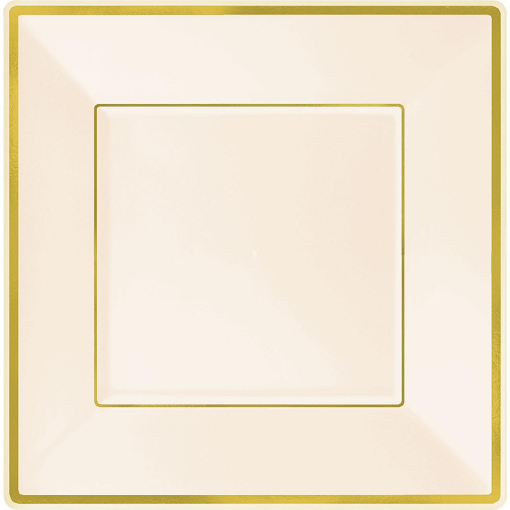 Cream Gold-Trimmed Premium Plastic Square Dinner Plates 8ct Image #1