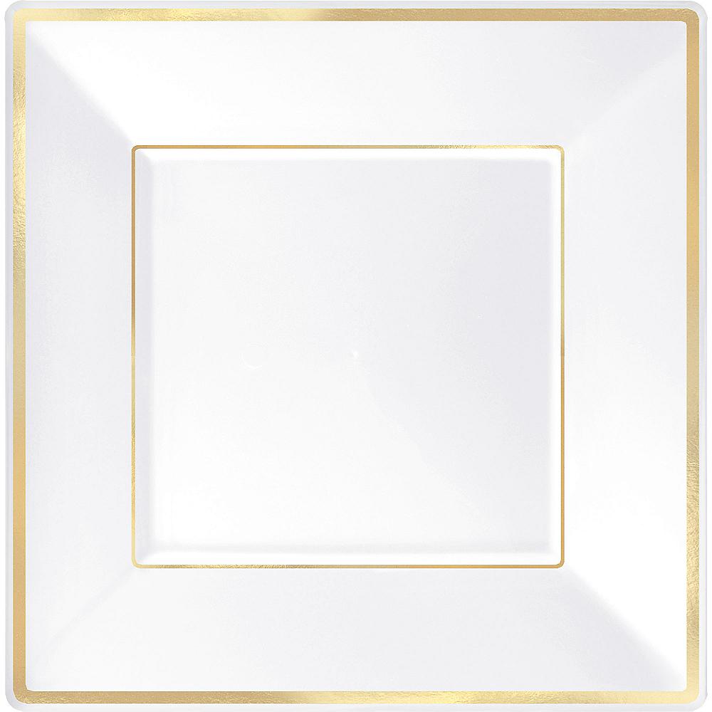 White Gold-Trimmed Premium Plastic Square Dinner Plates 8ct Image #1