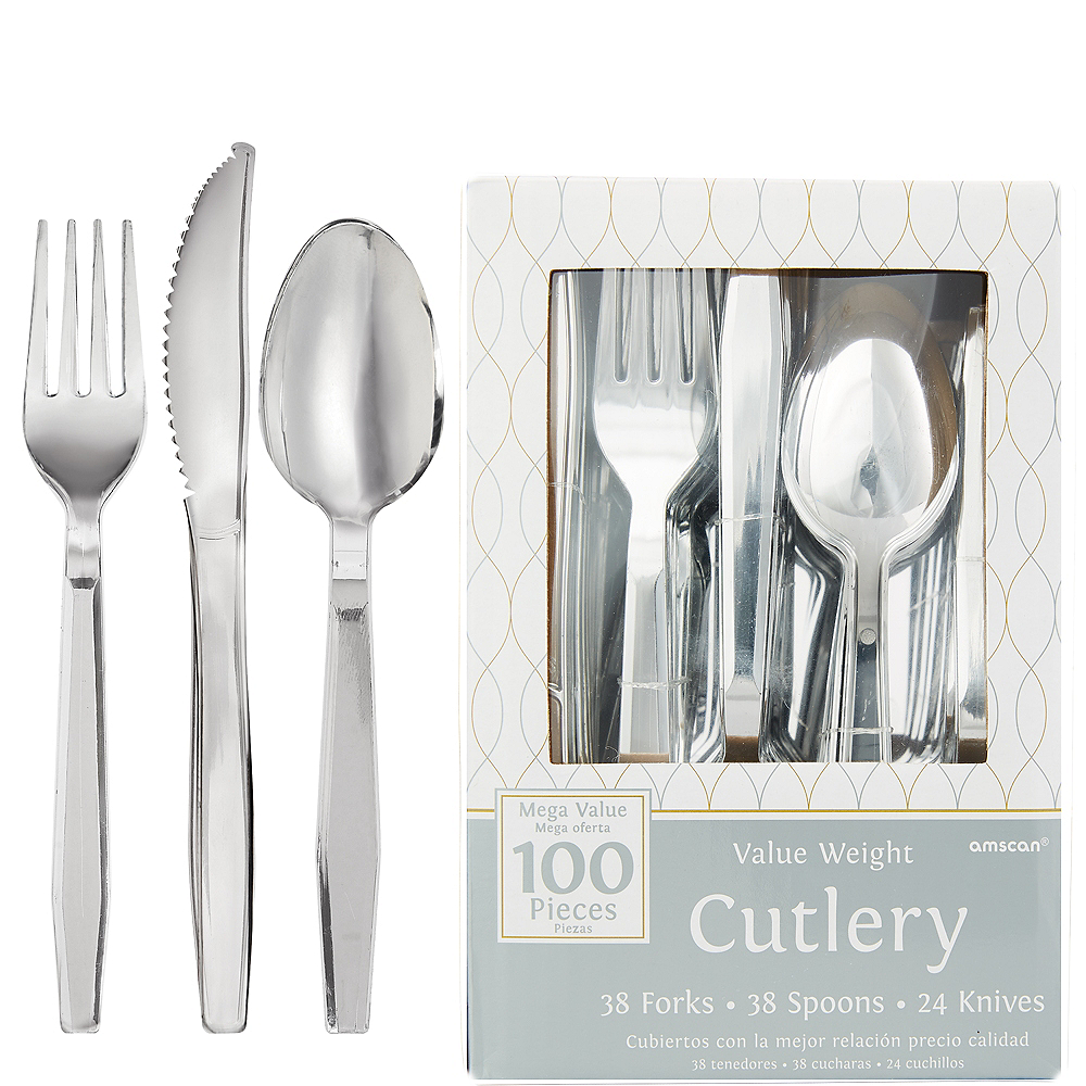 Silver Plastic Cutlery Set 100ct Image #1