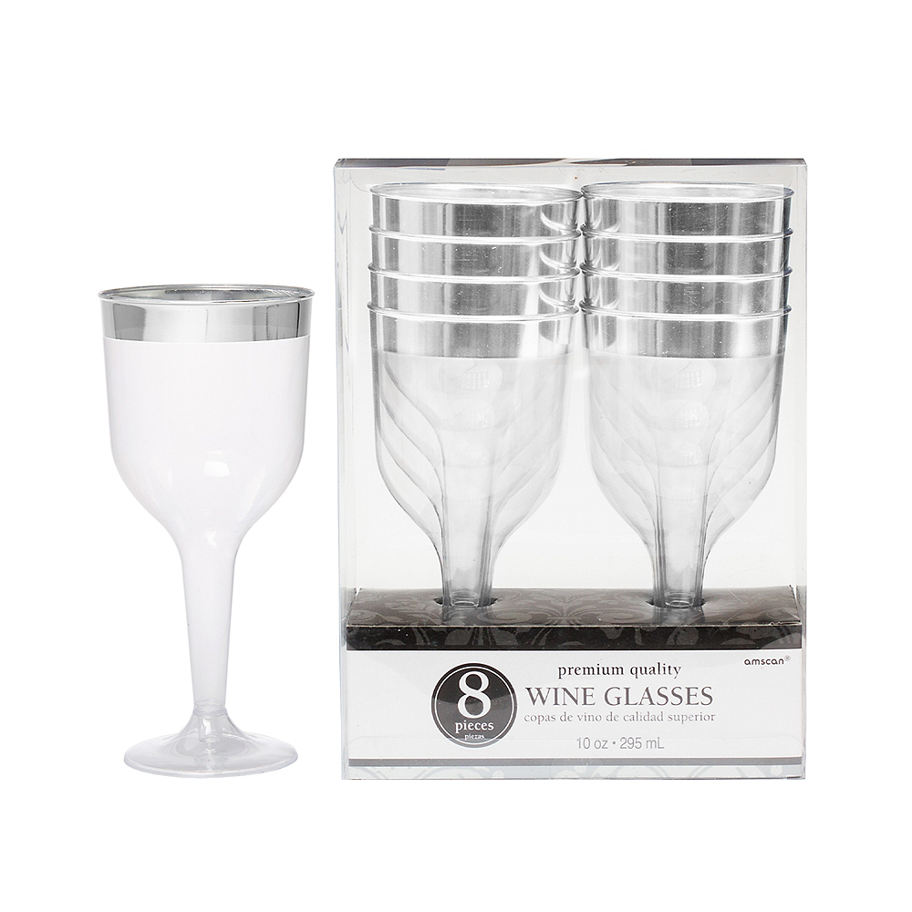 CLEAR Silver-Trimmed Premium Plastic Wine Glasses 8ct Image #1