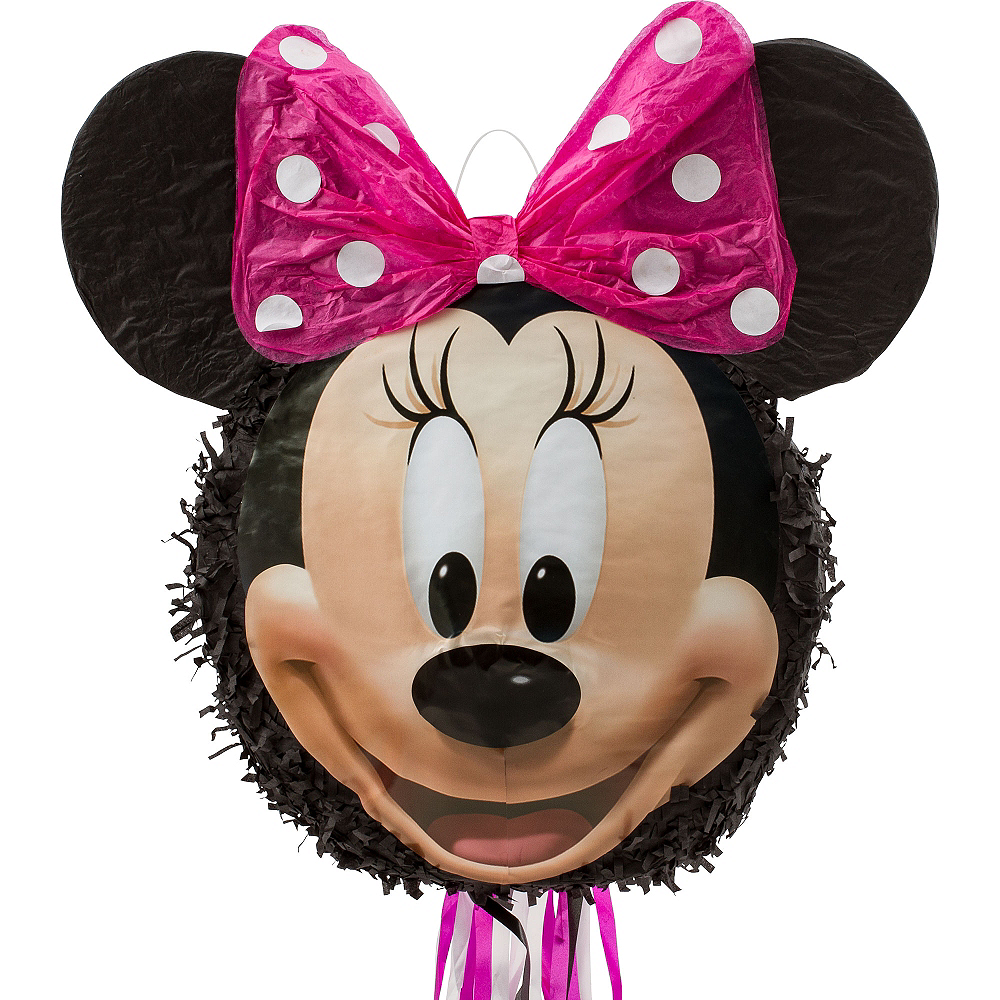 Pull String Smiling Minnie Mouse Pinata Image #1
