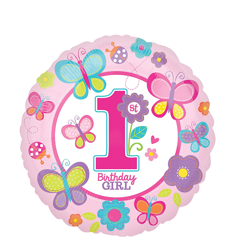 Sweet Girl 1st Birthday Balloon 17in Image #1
