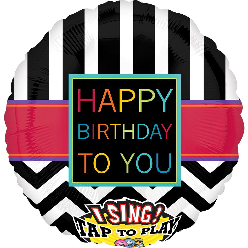 Chevron Happy Birthday Balloon - Singing, 28in Image #1
