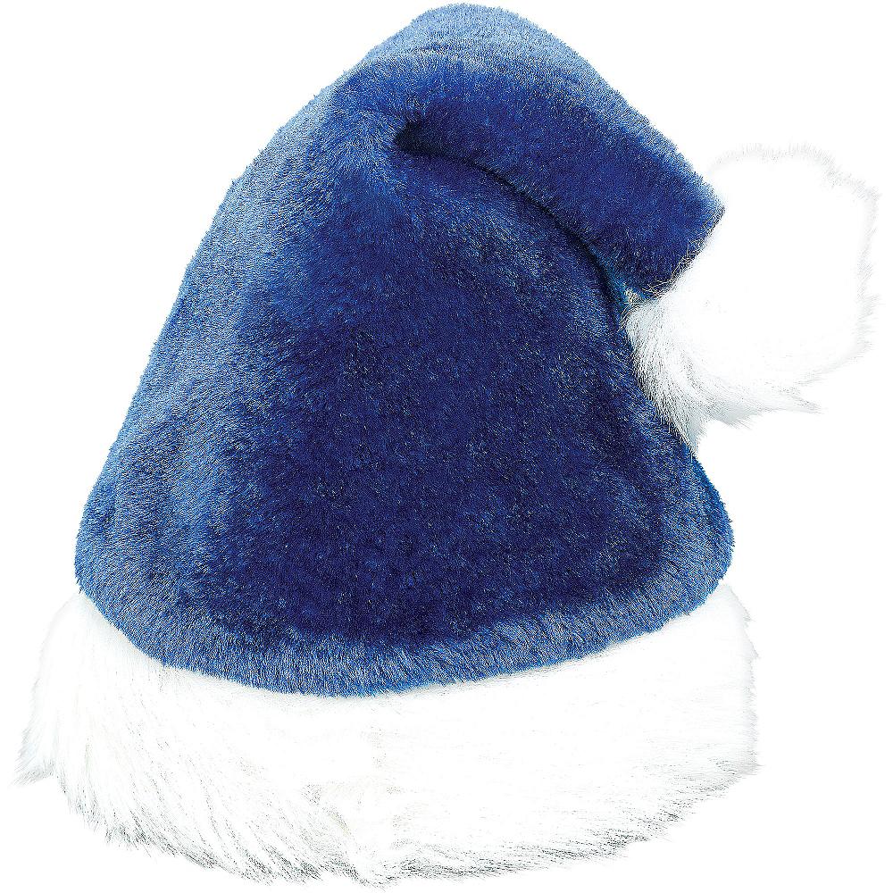 Plush Blue Santa Hat Image #1