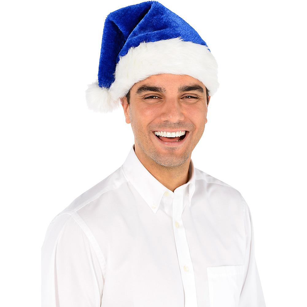 Plush Blue Santa Hat Image #2