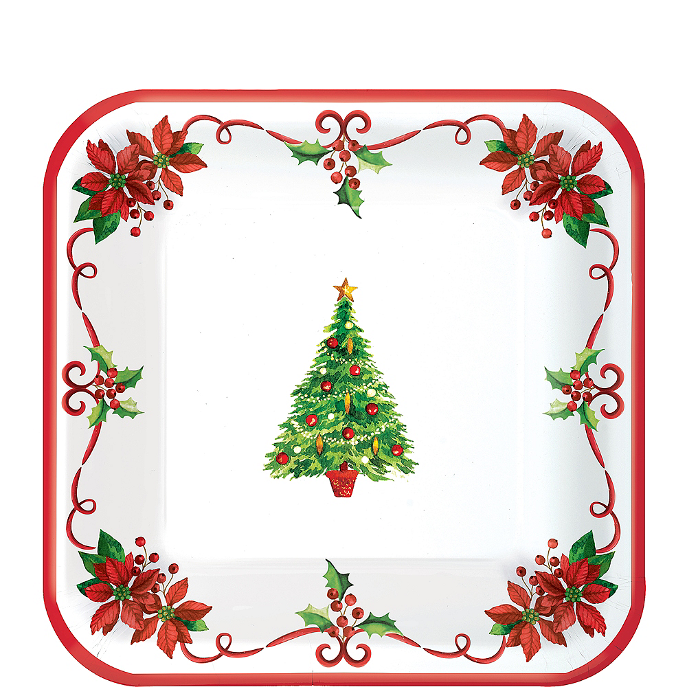 Traditional Christmas Appetizer And Dessert Plates 40ct Party