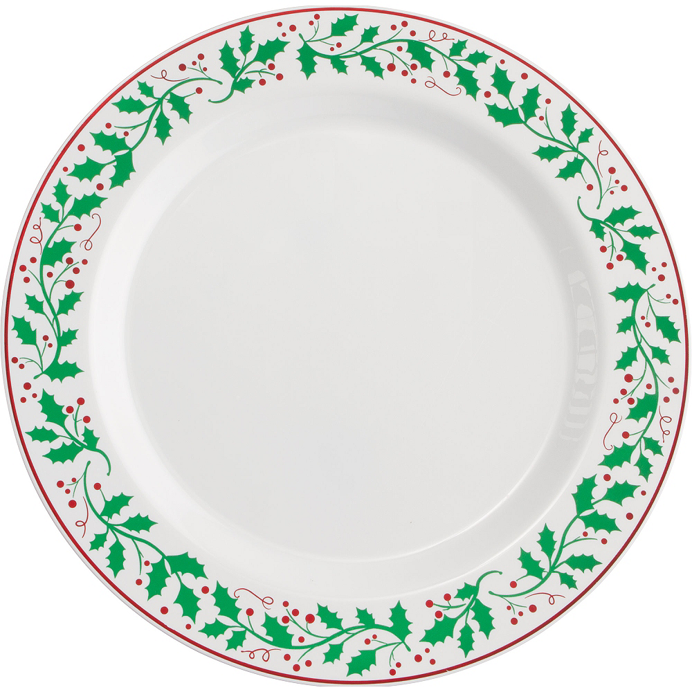 christmas holly premium plastic dinner plates 10ct image 1 - Christmas Plastic Plates