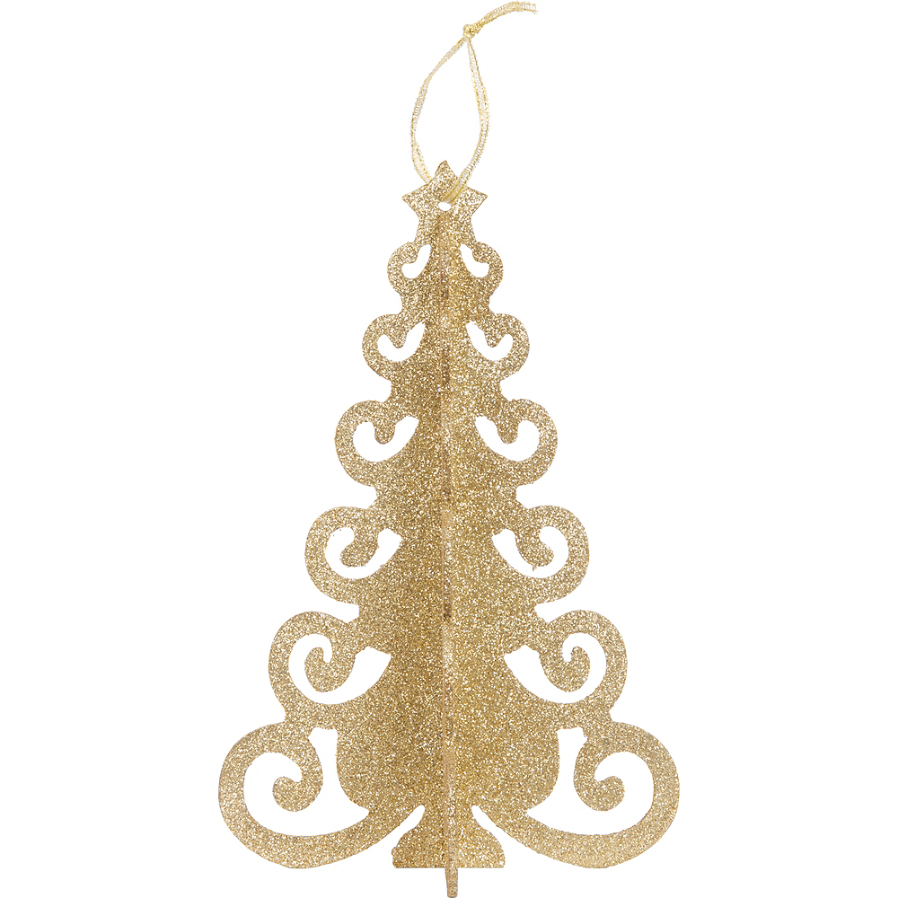 3D Gold Glitter Christmas Tree Image #1
