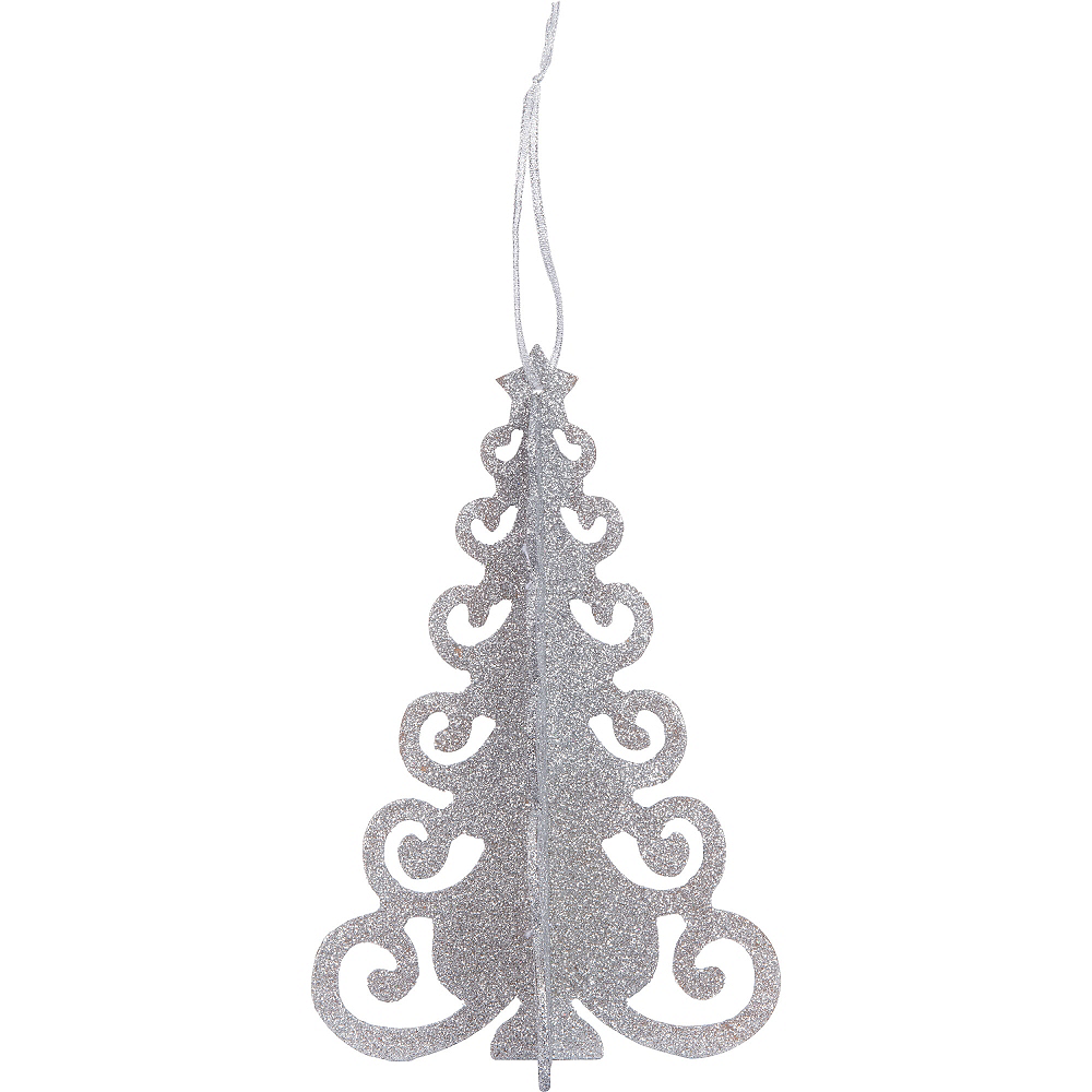 3D Silver Glitter Christmas Tree 6 1/2in x 10 1/4in | Party City Canada