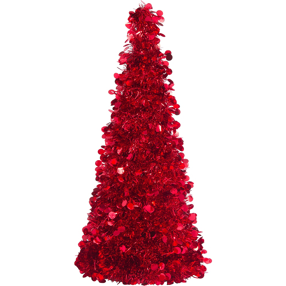 3D Red Tinsel Christmas Tree 18in