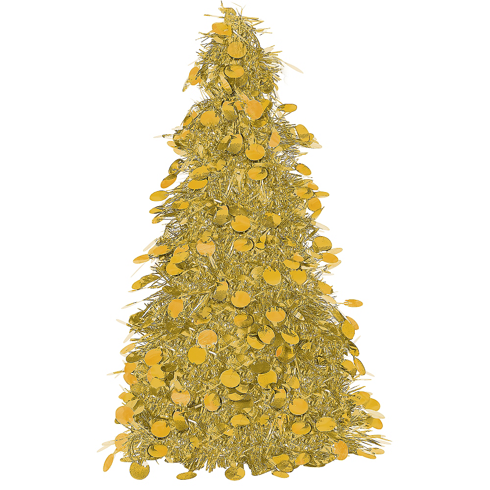3d gold tinsel christmas tree image 1