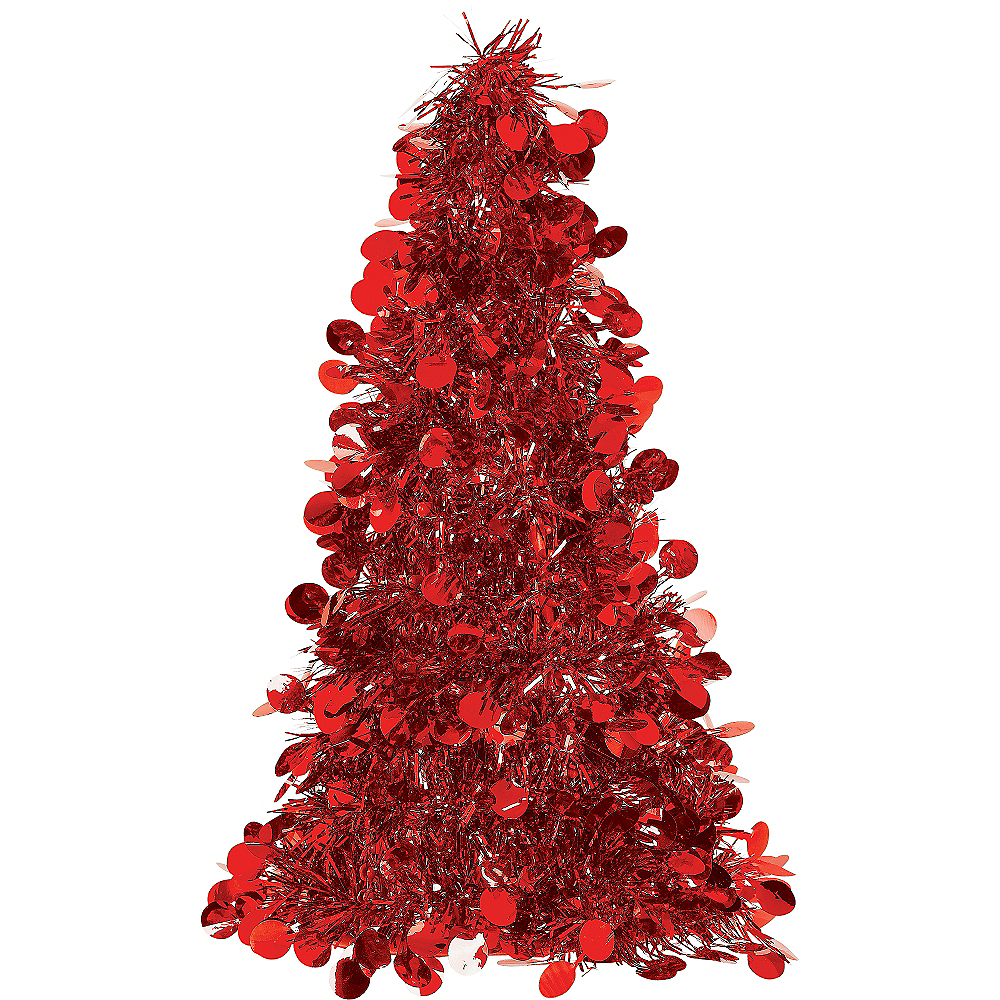 3D Small Red Tinsel Christmas Tree 10in | Party City