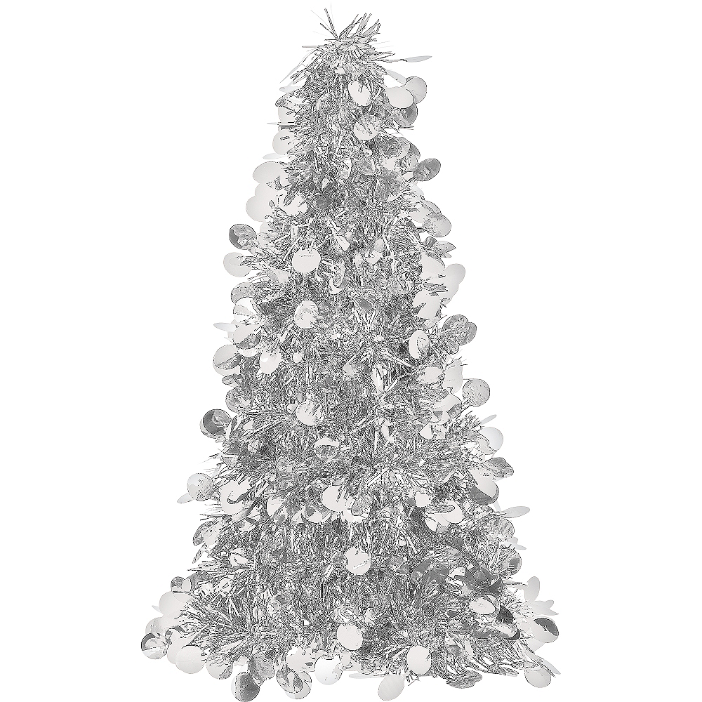 3d silver tinsel christmas tree image 1