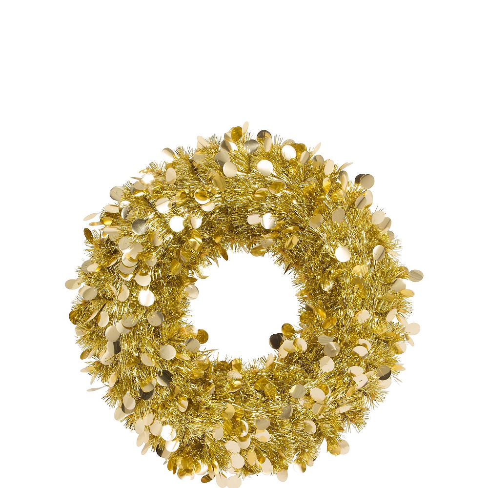 Gold Tinsel Wreath Image #1