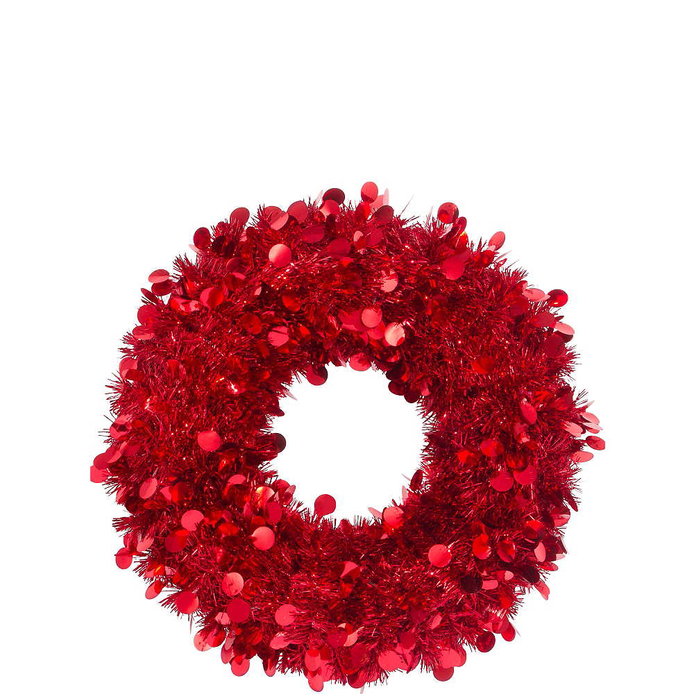 Red Tinsel Wreath Image #1