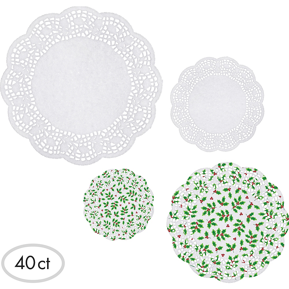 Holly Round Doilies 40ct Image #1
