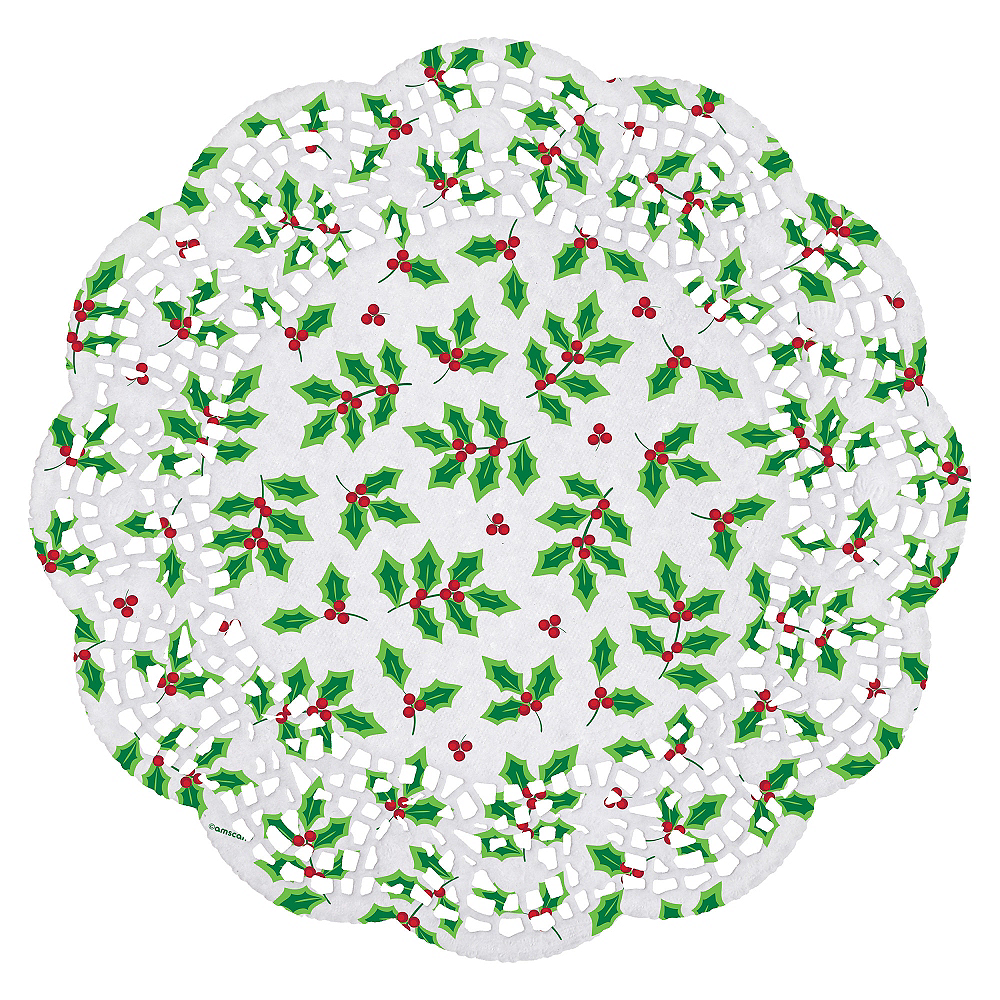Holly Round Doilies 40ct Image #2