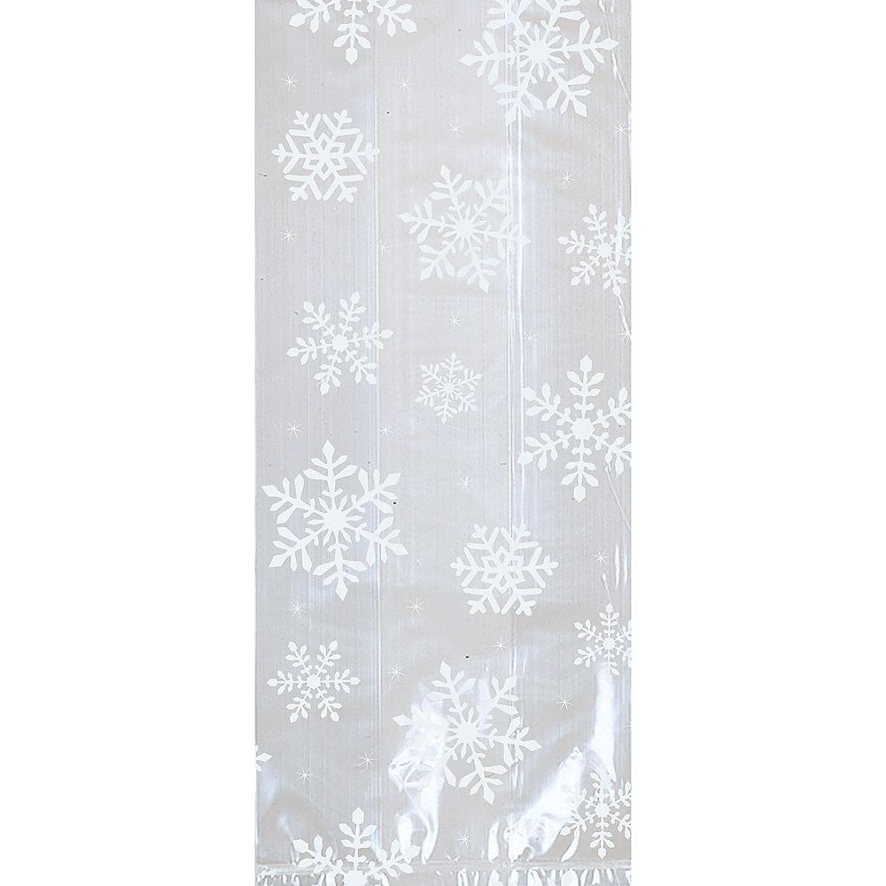 White Snowflake Treat Bags 20ct Image #1