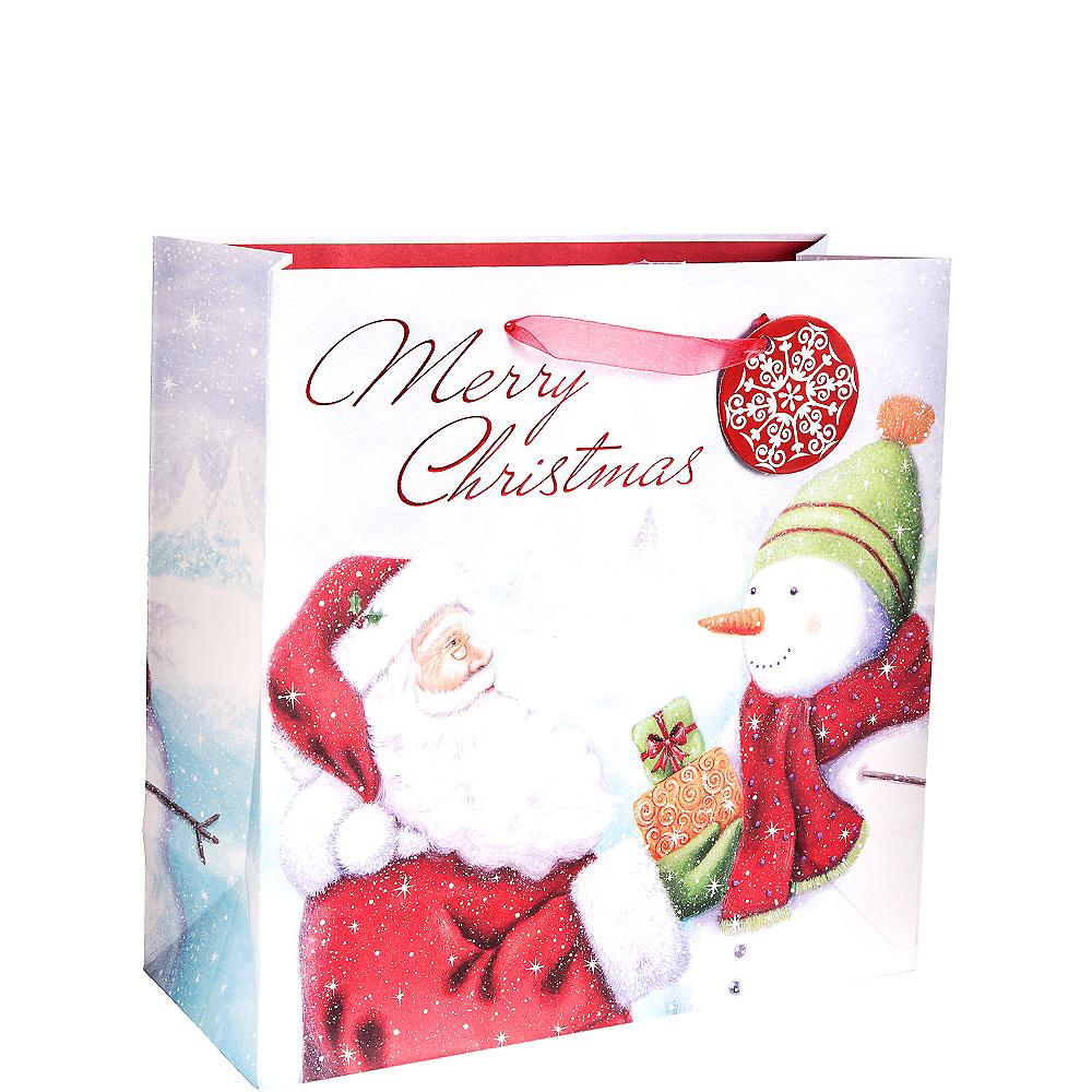 Traditional Santa & Snowman Christmas Gift Bag Image #1