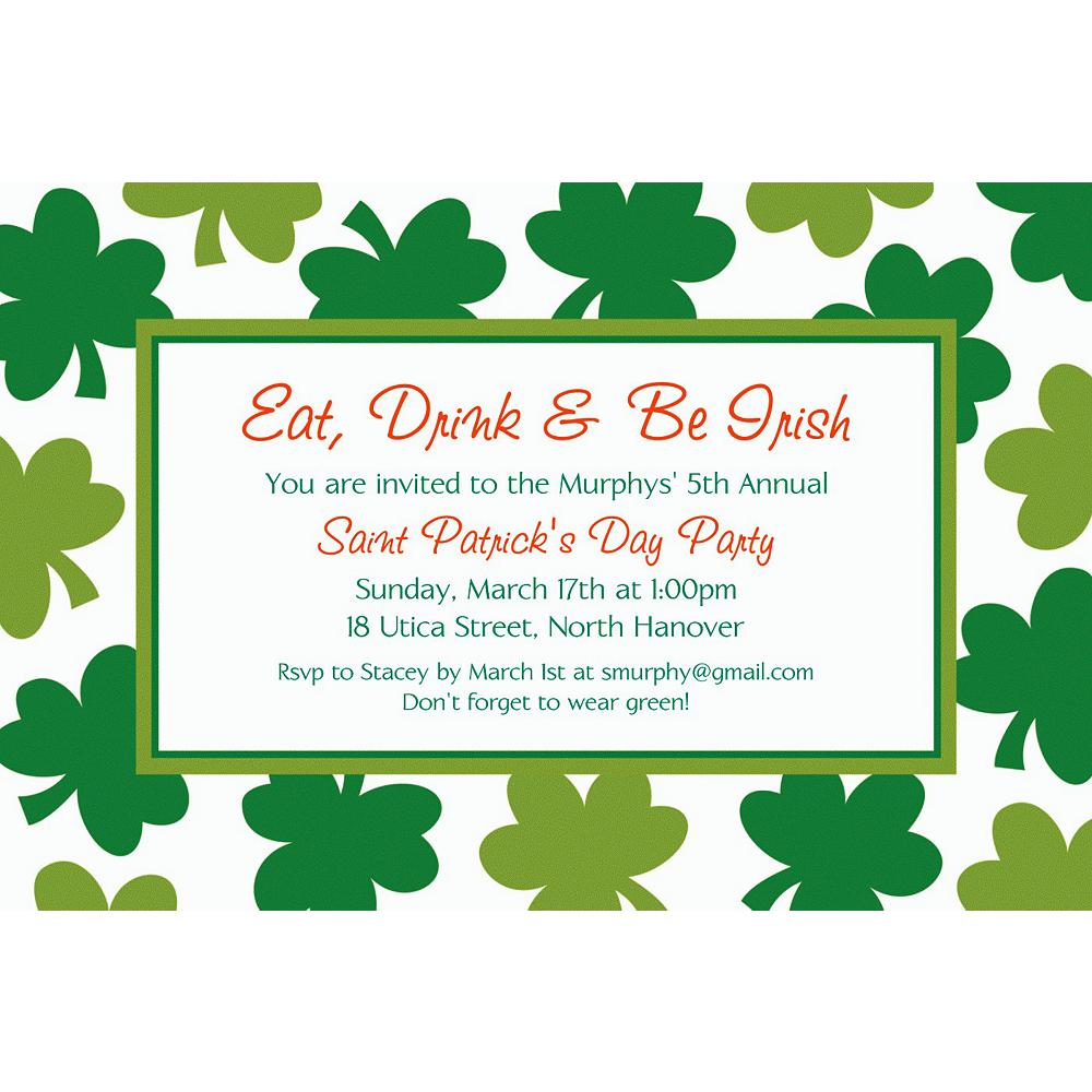 Custom Shamrock Shimmer St. Patrick's Day Invitations Image #1