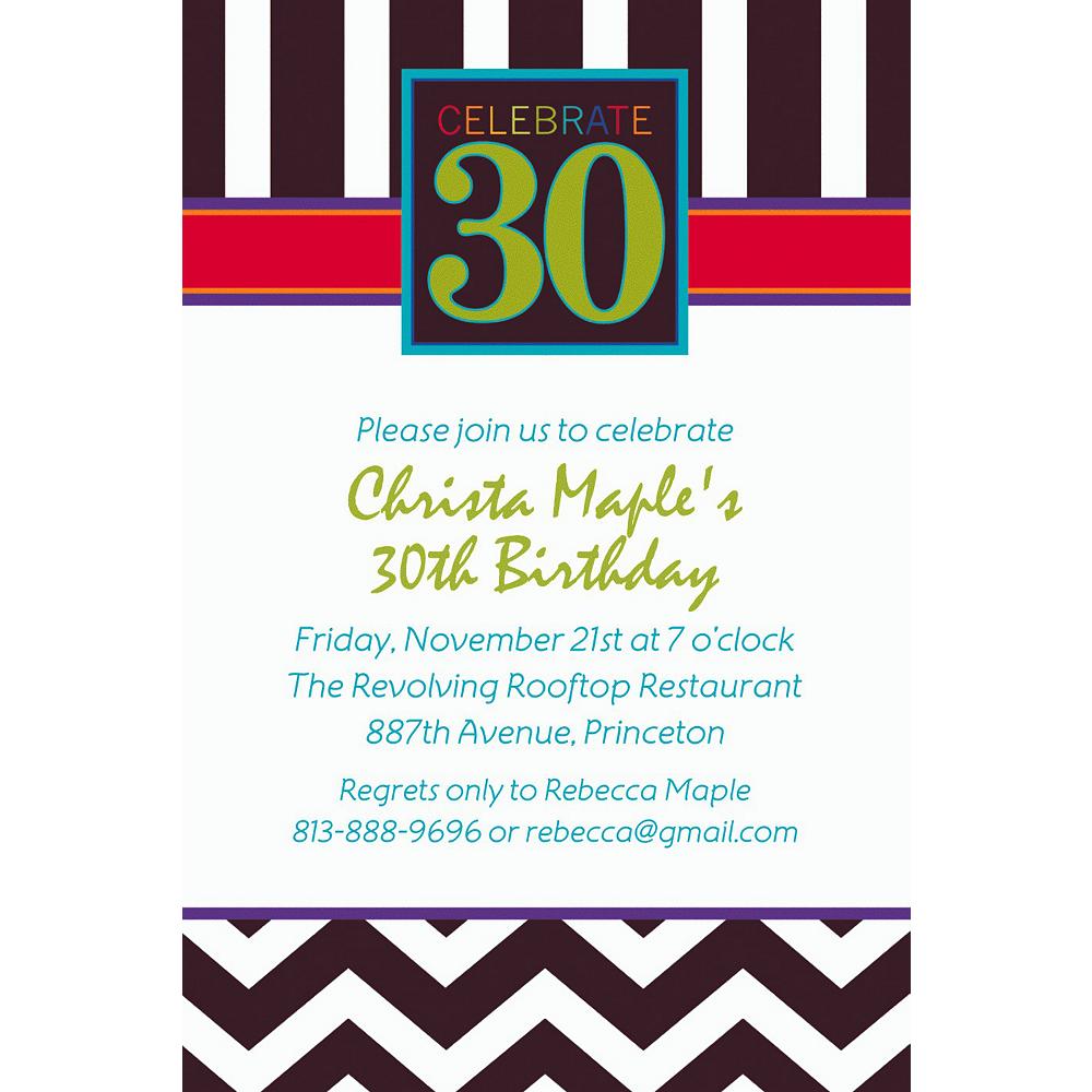 Custom 30th Celebration Invitations Image 1