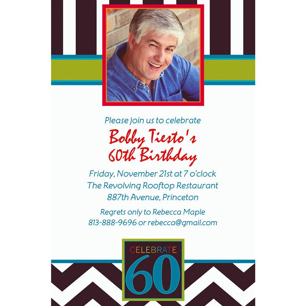 Custom 60th Celebration Photo Invitations Image #1