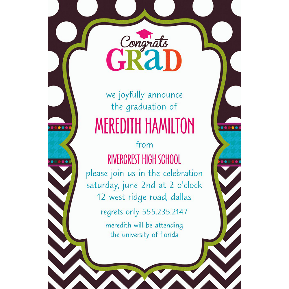 Nav Item for Custom Bright Congrats Grad Invitations    Image #1