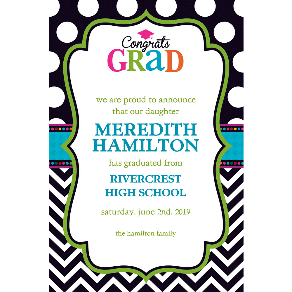 Custom Bright Congrats Grad Announcements    Image #1