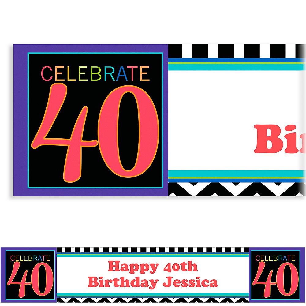 Custom 40th Celebration Banner 6ft Image #1