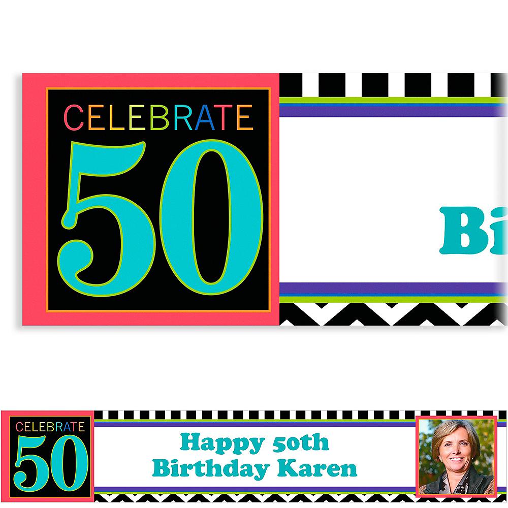 Custom 50th Celebration Photo Banner 6ft Image #1