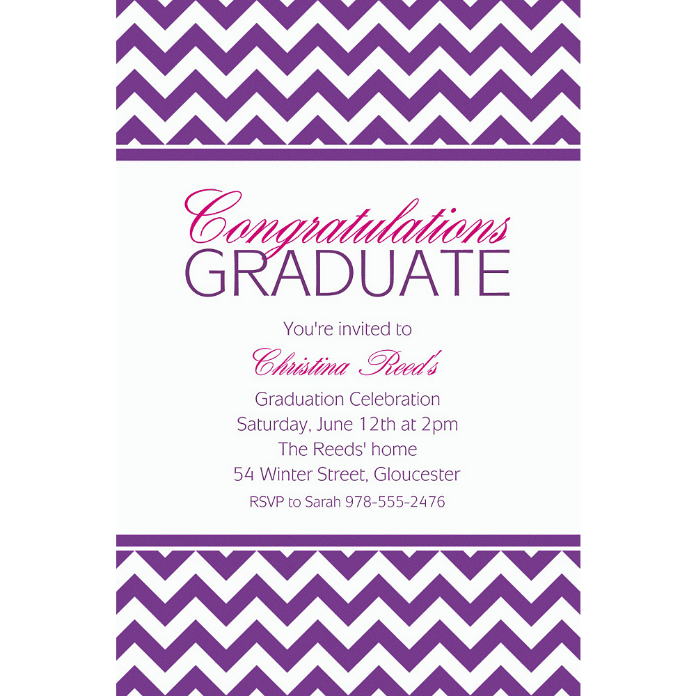 custom purple chevron invitations party city