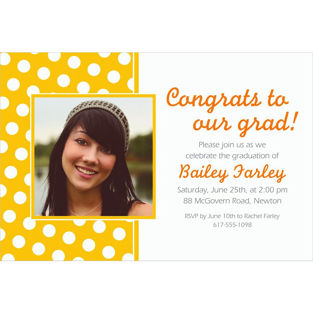 Custom Sunshine Yellow Polka Dot Photo Invitations Image #1
