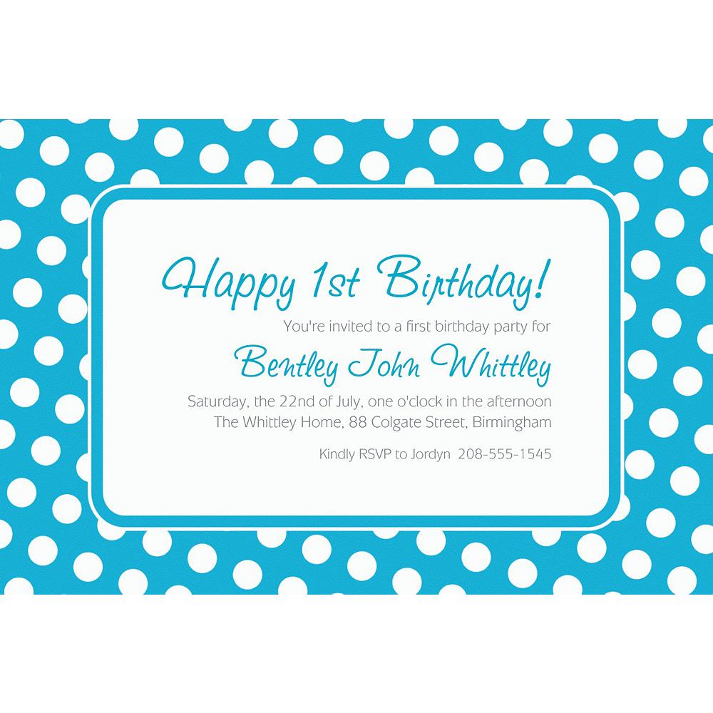 custom caribbean blue polka dot invitations party city
