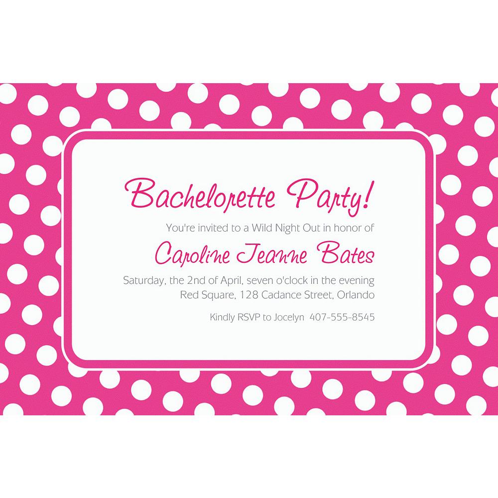 Custom Bright Pink Polka Dot Invitations Image #1