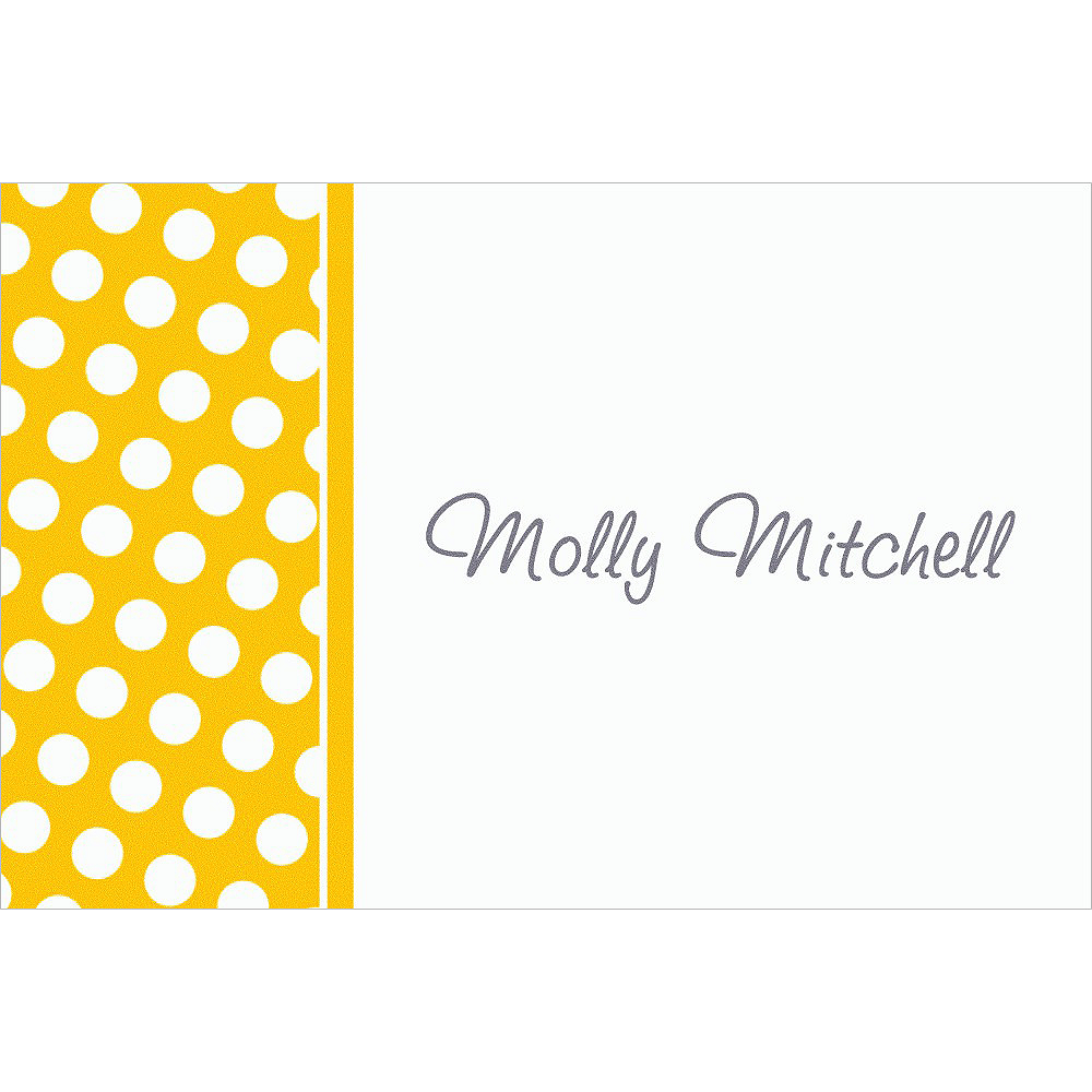 Custom Sunshine Yellow Polka Dot Thank You Notes Image #1